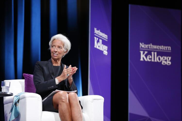 IMF's Christine Lagarde being interviewed at Kellogg