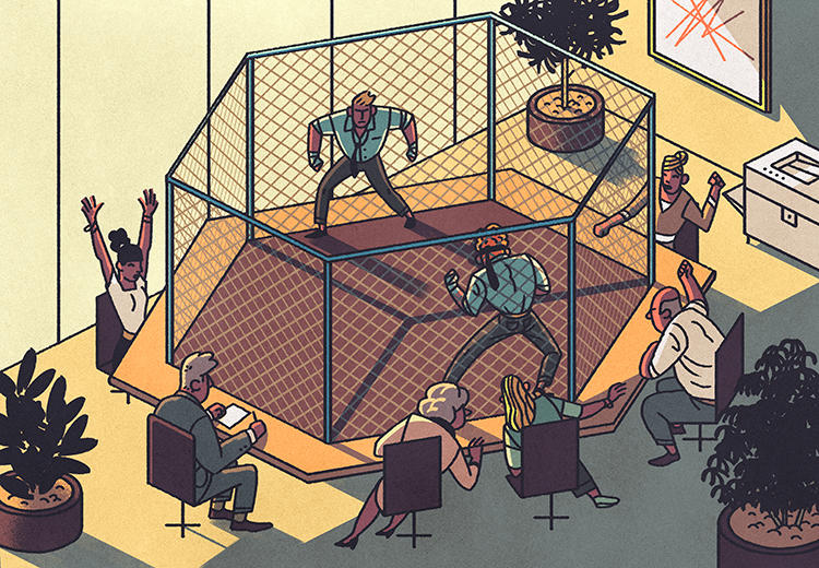 Employees use a conference room as a boxing ring.