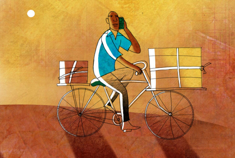 An African entrepreneur delivers products on a bicycle.