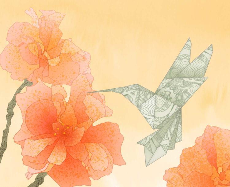 An origami hummingbird represents social impact investment strategies.